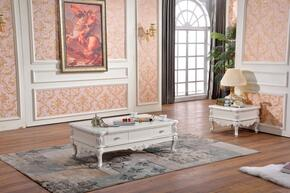 Zarah 298CE 2 PC Living Room Table Set with Coffee Table + End Table in White Finish