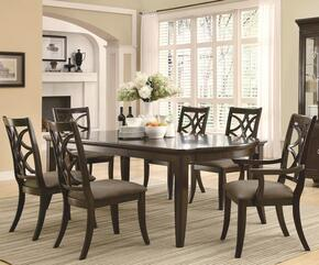 Meredith Collection 103531SETA 7 PC Dining Room Set with Table + 4 Side Chairs + 2 Arm Chairs in Espresso Finish