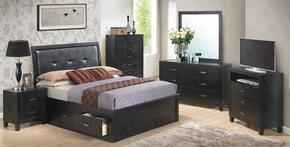 G1250BKSBDMNTV 5 Piece Set including  King Size Storage Bed, Dresser, Mirror, Nightstand and Media Chest in Black