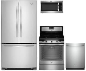 "4-Piece Kitchen Package with WRF535SMBM 36"" French Door Refrigerator, WFG540H0ES 30"" Gas Freestanding Range, WMH32519FS 30"" Over The Range Microwave oven and WDT750SAHZ 24"" Built In Dishwasher in Stainless Steel"