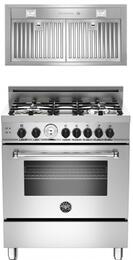 "Bertazzoni Stainless Steel 2-Piece Kitchen Package With MAS304GASXTLP 30"" Master Series Gas Freestanding Range and Free KIN30PROX 30"" Professional Series Cabinet Insert Hood"