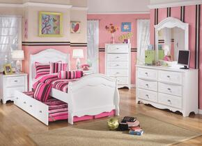 Woodard Collection Full Bedroom Set with Trundle Bed, Dresser, Mirror and a Single Nightstand in White