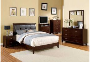 Enrico I Collection CM7068Q-4PC 4 PC Bedroom Set with Queen Size Platform Bed + Dresser + Mirror + Nightstand in Brown Cherry Finish