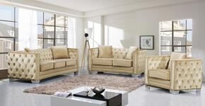 Reese Collection 648-BE-S-L-C 3 Piece Living Room Set with Sofa + Loveseat and Chair in Beige