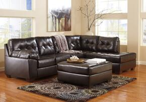 Alliston 20101-08-17-66 2-Piece Living Room Set with Right Chaise Sectional Sofa and Ottoman in Chocolate