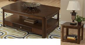 30712CE Leighla 2 Piece Occasional and Entertainment Table Set with Cocktail Table and End Table, in Chestnut