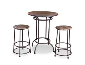 Urban Loft  Collection HH-8975-032-3PC 3-Piece Pub Table Set with Table and 2 Stools in Distressed Brown