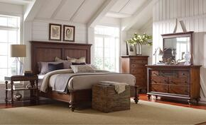 Cascade 4940QPBNTDM 4-Piece Bedroom Set with Queen Panel Bed, Night Table, Dresser and Mirror in Brown