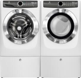 "White Front Load Laundry Pair with EFLS517SIW 27"" Washer, EFME517SIW 27"" Electric Dryer and 2 EPWD157SIW Pedestals"
