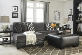 Kumasi 32202LSSO 2-Piece Living Room Set with Left Arm Facing Chaise Sectional and Oversized Ottoman in Black