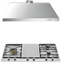 """2-Piece Stainless Steel Kitchen Package with PM3630GXLP 36"""" Segmented Gas Cooktop and KU36PRO1X14 36"""" Canopy Hood"""