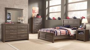 Juararo Full Bedroom Set with Panel Bed, Dresser, Mirror, Chest and Nightstand in Aged Brown