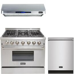 "3-Piece Package With KRD366F 36"" Gas Range, KRH3601U 36"" Under Cabinet Ducted hood and K6502D 24"" Dishwasher in Stainless Steel"