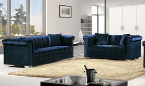 Kayla Collection 6152PCSTLKIT1 2-Piece Living Room Sets with Stationary Sofa, and Loveseat in Navy