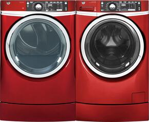 "Ruby Red Front Load Laundry Pair with GFW490RPKRR 28"" Washer and GFD49GRPKRR 28"" Gas Dryer"