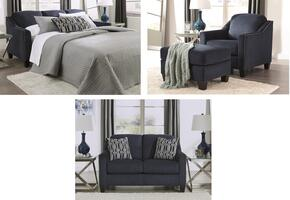 Creeal Heights Collection 80202QSSLCO 4-Piece Living Room Set with Queen Sofa Sleeper, Loveseat, Chair and Ottoman in Midnight Blue Ink