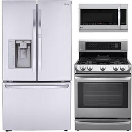 LG 3-Door French Door Refrigerator, Single Oven Gas Range and Over-the-Range Microwave - Stainless Steel