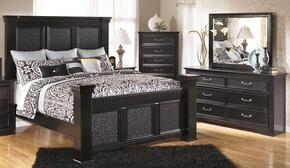 Cavallino King Bedroom Set with Mansion Bed, Dresser, Mirror and Chest in Deep Black
