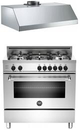 "Bertazzoni Stainless Steel 2-Piece Kitchen Package With MAS365GASXE 36"" Gas Freestanding Range with 5 Burners and Free KU36PRO1XV  36"" Professional Series Hood"