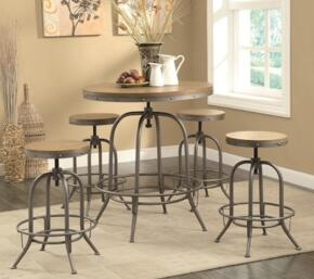 "Bar Units and Bar Tables 122097 36"" Adjustable Bar Table and Bar Stool Antique Black Finish"