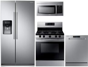 "4 Piece Kitchen Package With NX58K3310SS 30"" Gas Range, ME16K3000AS Over the Range Microwave Oven, RS25J500DSR 36"" Side By Side Refrigerator and DW80J3020US 24"" Built In dishwasher In Stainless Steel"