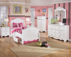 Exquisite Twin Bedroom Set with Sleigh Bed with Underbed Drawers, Dresser, Mirror and Nightstand in White