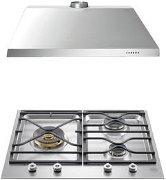 "2-Piece Stainless Steel Kitchen Package with PMB24300X 24"" Gas Cooktop and KU24PRO1X14 24"" Canopy Hood"