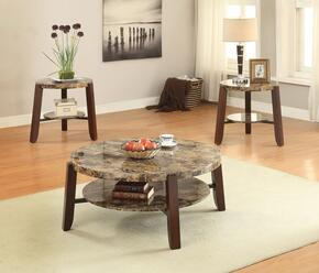 Lilith 80957CE 3 PC Living Room Table Set with Coffee Table + 2 End Tables in Cherry Finish