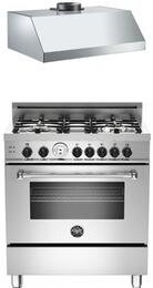 "Bertazzoni Stainless Steel 2-Piece Kitchen Package With MAS304GASXTLP 30"" Master Series Gas Freestanding Range and Free KU30PRO1XV 30"" Professional Series Hood"