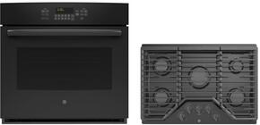 "2-Piece Black Kitchen Package with PT7050DFBB 30"" Single Oven and PGP943DETBB 30"" Gas Cooktop"
