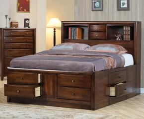 Hillary Collection 200609KESETA 2 PC Bedroom Set with King Size Bed + Chest in Warm Brown Finish