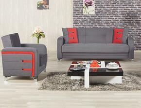 Decora DESBACTGY Package Containing Sofabed and Convertible Armchair with Matching Pillows, Tapered Polished Metal Feet and Button Detailing in Truva Gray
