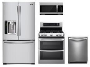 """4 Piece Stainless Steel Kitchen Package With LDG4313ST 30"""" Electric Freestanding Range, LMV1683ST Over the Range Microwave Oven, LFX25973ST 36"""" French Door Refrigerator and LDF8874ST 24"""" Built In Dishwasher"""