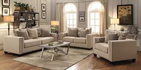 Lyonesse Collection 505451SET 3 PC Living Room Set with Sofa + Loveseat+ Armchair in Brown Finish