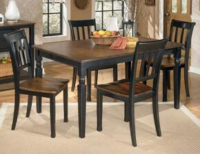 D5802502 Owingsville Rectangular Dining Room Table with Four Chairs, Glued and Screwed Corner Block Construction in Two Tone