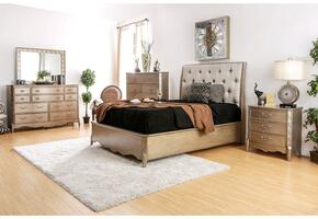 Celine Collection CM7432KBDMCN 5-Piece Bedroom Set with King Bed, Dresser, Mirror, Chest, and Nightstand in Brushed Gold Finish