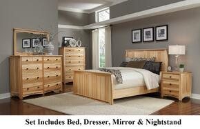 ADANT5170KIT Adamstown 4 Piece Bedroom Set with King Sized Panel Bed, Dresser, Mirrror, and Nightstand