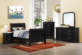 Louis Philippe 203961TSET 5 PC Bedroom Set with Twin Size Sleigh Bed + Dresser + Mirror + Chest + Nightstand in Black Color