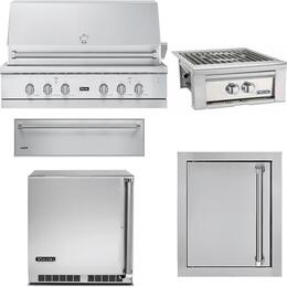 "5-Piece Stainless Steel Outdoor Kitchen Package with VGIQ554241NSS 54"" Natural Gas Grill, VQGPB5200NSS 20"" Side Burner, VOADS5240SS 24"" Access Door, SD5360 36"" Storage Drawer, and VRUO5240DLSS 24"" Outdoor Refrigerator"