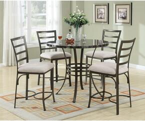 Daisy 70090BKT4WC 5 PC Bar Table Set with Counter Height Table + 4 White Chairs in Antique Bronze Finish