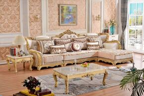 Lorenzo Collection 695LSSEC 3-Piece Living Room Set with Sectional Sofa, End Table and Coffee table in Rich Gold Finish