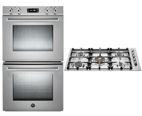 "Professional 2-Piece Stainless Steel Kitchen Package with FD30PROXE 30"" Double Electric Wall Oven and QB36500X 36"" Gas Cooktop"