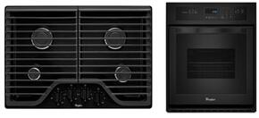 "2-Piece Kitchen Package with WCG51US0DB 30"" Gas Cooktop and WOS11EM4EB 24"" Electric Single Wall Oven in Black"