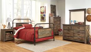 Trinell Full Bedroom Set with Metal Bed, Dresser, Mirror, Nightstand and Chest in Brown