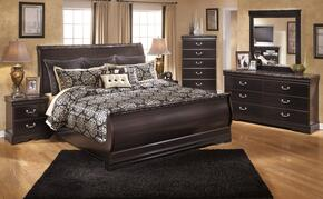 Esmarelda King Bedroom Set with Sleigh Bed, Dresser, Mirror and Nightstand in Dark Merlot