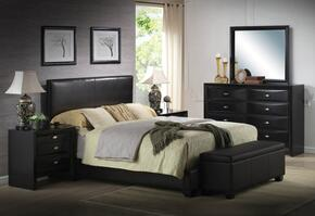 Ireland 14340QDMB2N 6 PC Bedroom Set with Queen Size Bed + Dresser + Mirror + Bench + 2 Nightstands in Black Color