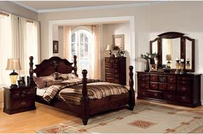 Tuscan II Collection CM7571CKBDMCN 5-Piece Bedroom Set with California King Bed, Dresser, Mirror, Chest and Nightstand in  Glossy Dark Pine Finish