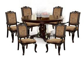 Bellagio Collection CM3319RT6FAC 7-Piece Dining Room Set with Round Dining Table and 6 Fabric Armchairs in Brown Cherry Finish