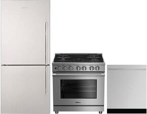 "3-Piece Kitchen Package with BRFB1822SSN 30"" Bottom Freezer Refrigerator, BGRP34520SS 30"" Freestanding Gas Range, and DWT57500SS 24"" Fully Integrated Dishwasher in Stainless Steel"