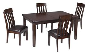 Haddigan D596T4C 5-Piece Dining Room Set with Extendable Table and 4 Side Chairs in Dark Brown Finish